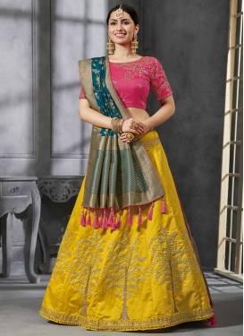 Beads Work Rose Pink and Teal A - Line Lehenga