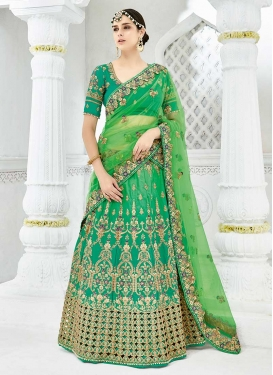 Beads Work Satin Silk A - Line Lehenga