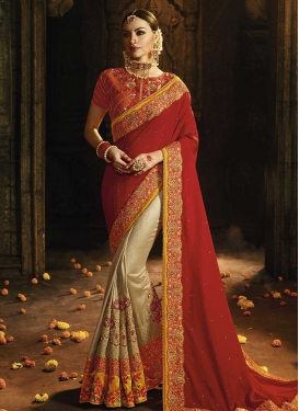 Beads Work Satin Silk Beige and Red Half N Half Saree
