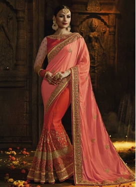 Beads Work Satin Silk Half N Half Saree