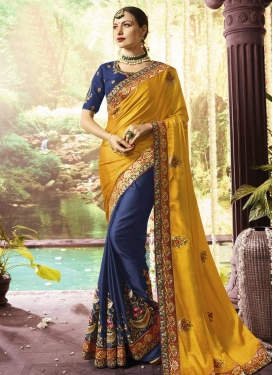 Beads Work Satin Silk Half N Half Trendy Saree