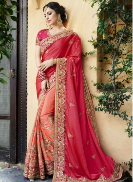 Beads Work Satin Silk Half N Half Trendy Saree For Bridal