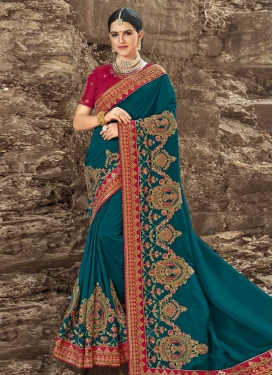 Beads Work Satin Silk Trendy Classic Saree For Ceremonial