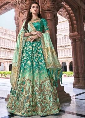 Beads Work Sea Green and Turquoise Silk Trendy Lehenga