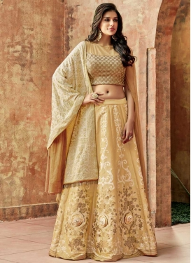 Beads Work Silk A Line Lehenga Choli