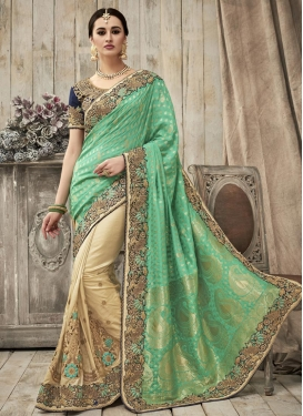 Beads Work Silk Half N Half Trendy Saree For Bridal