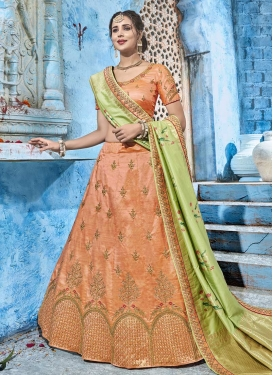 Beads Work Silk Trendy A Line Lehenga Choli