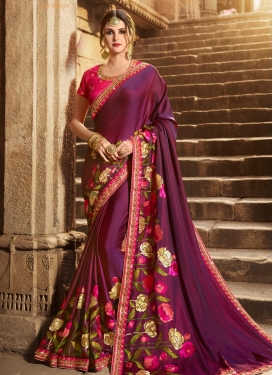 Beads Work Silk Trendy Classic Saree For Bridal