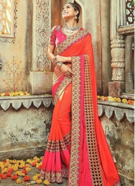 Beads Work Tafeta Silk Rose Pink and Tomato Designer Contemporary Style Saree