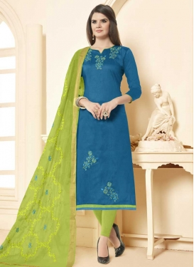 Beads Work Trendy Straight Salwar Suit