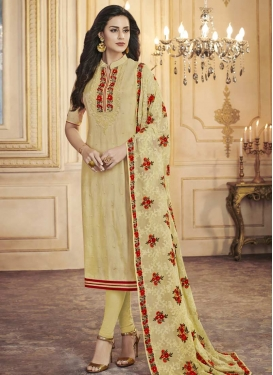 Beads Work Uppada Silk Pakistani Straight Salwar Suit