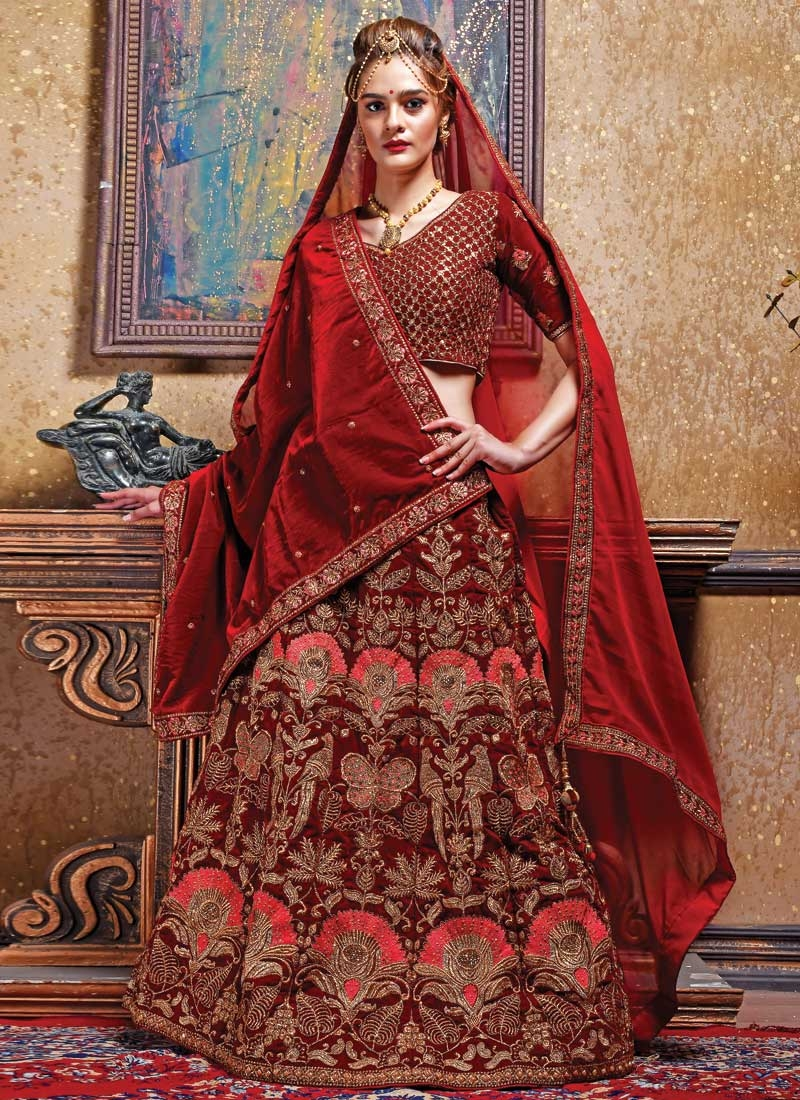 Beads Work Velvet A Line Lehenga Choli