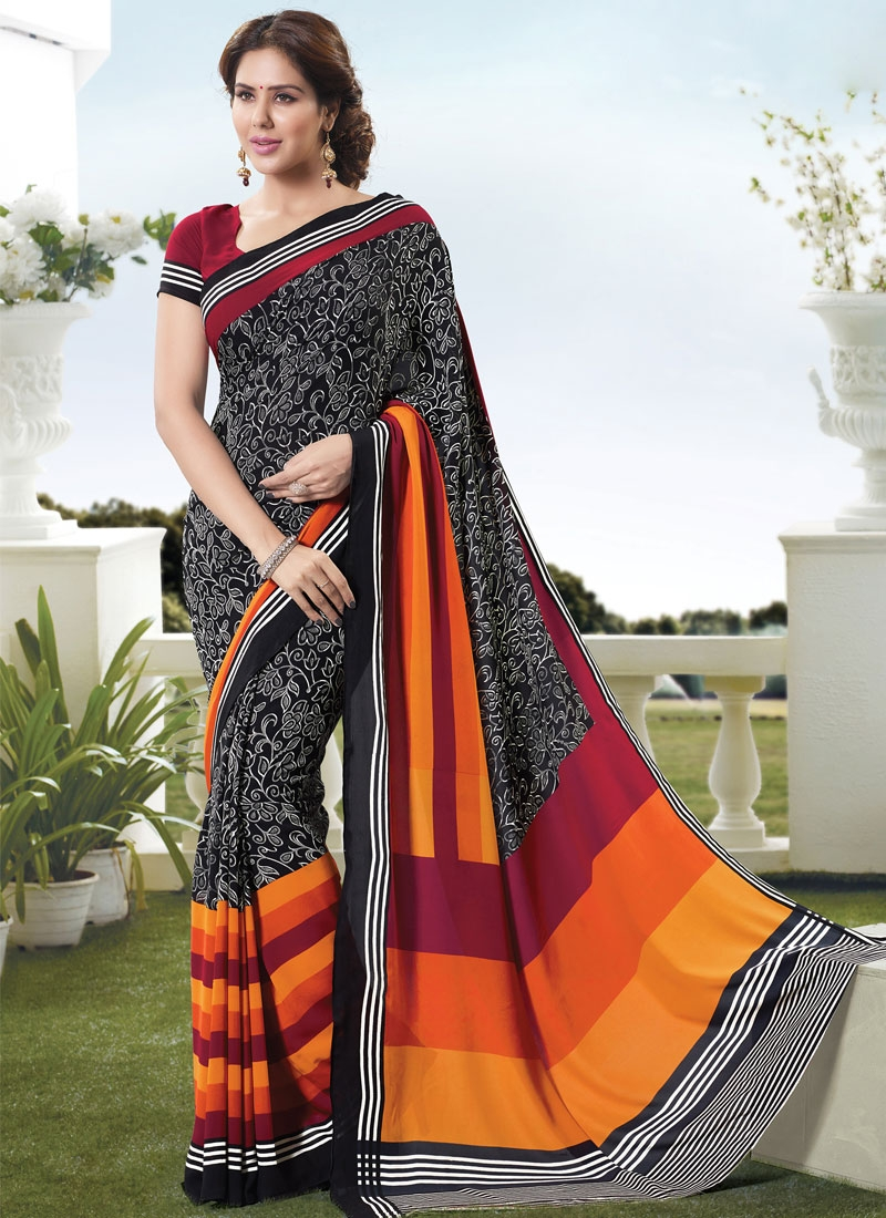 Beauteous Abstract Print Work Casual Saree