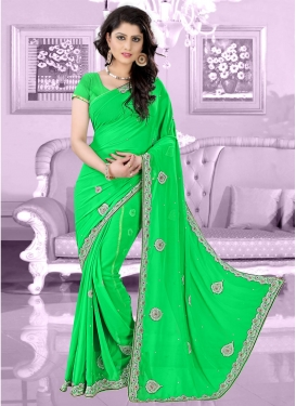 Beauteous Beads Work Mint Green Color Wedding Saree