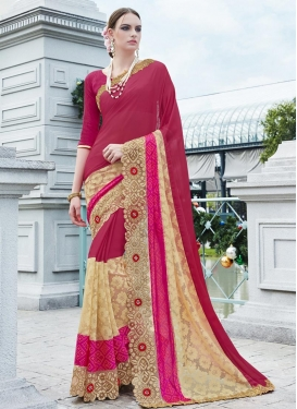 Beauteous  Beige and Rose Pink Embroidered Work Traditional Designer Saree