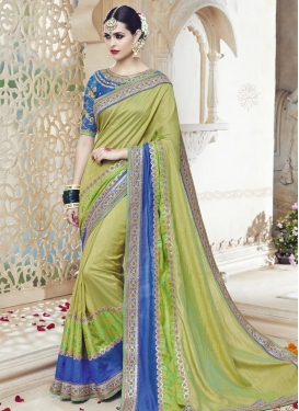 Beauteous  Blue and Olive Silk Designer Contemporary Style Saree