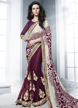 Beauteous Booti Work Half N Half Party Wear Saree