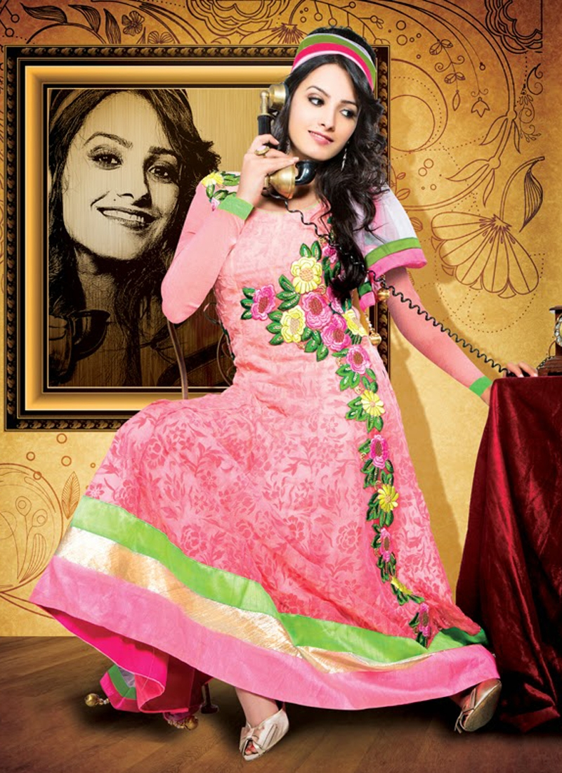 Beauteous Chiffon And Georgette Anarkali Suit