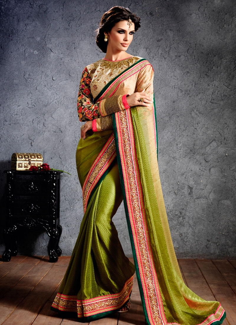 Beauteous Chiffon Jacquard Wedding Saree