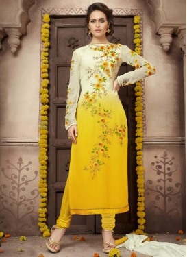 Beauteous Embroidered Work Cream and Yellow Trendy Salwar Kameez