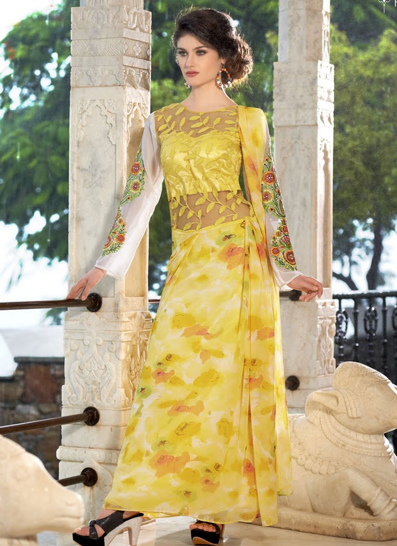 Beauteous Embroidery Work Designer Readymade Gown
