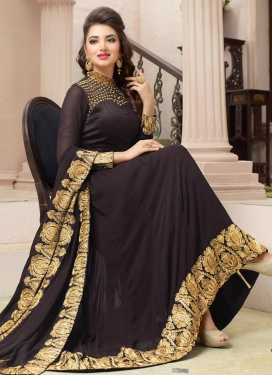 Beauteous Faux Georgette Asymmetrical Anarkali Salwar Kameez For Festival