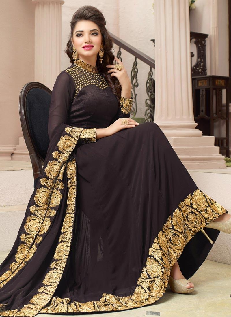 f3f68c63c6 Beauteous Faux Georgette Asymmetrical Anarkali Salwar Kameez For Festival