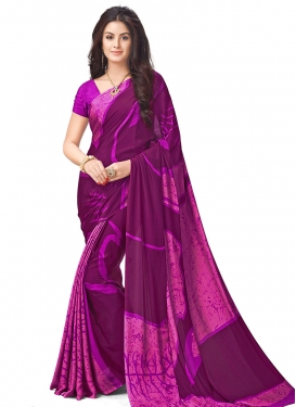 Beauteous Fuchsia and Purple Contemporary Style Saree