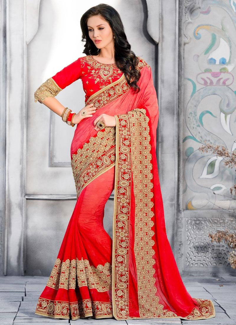 Beauteous Jacquard Red Color Wedding Saree