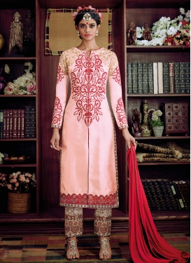 Beauteous Pink Color Art Raw Silk Pant Style Designer Suit