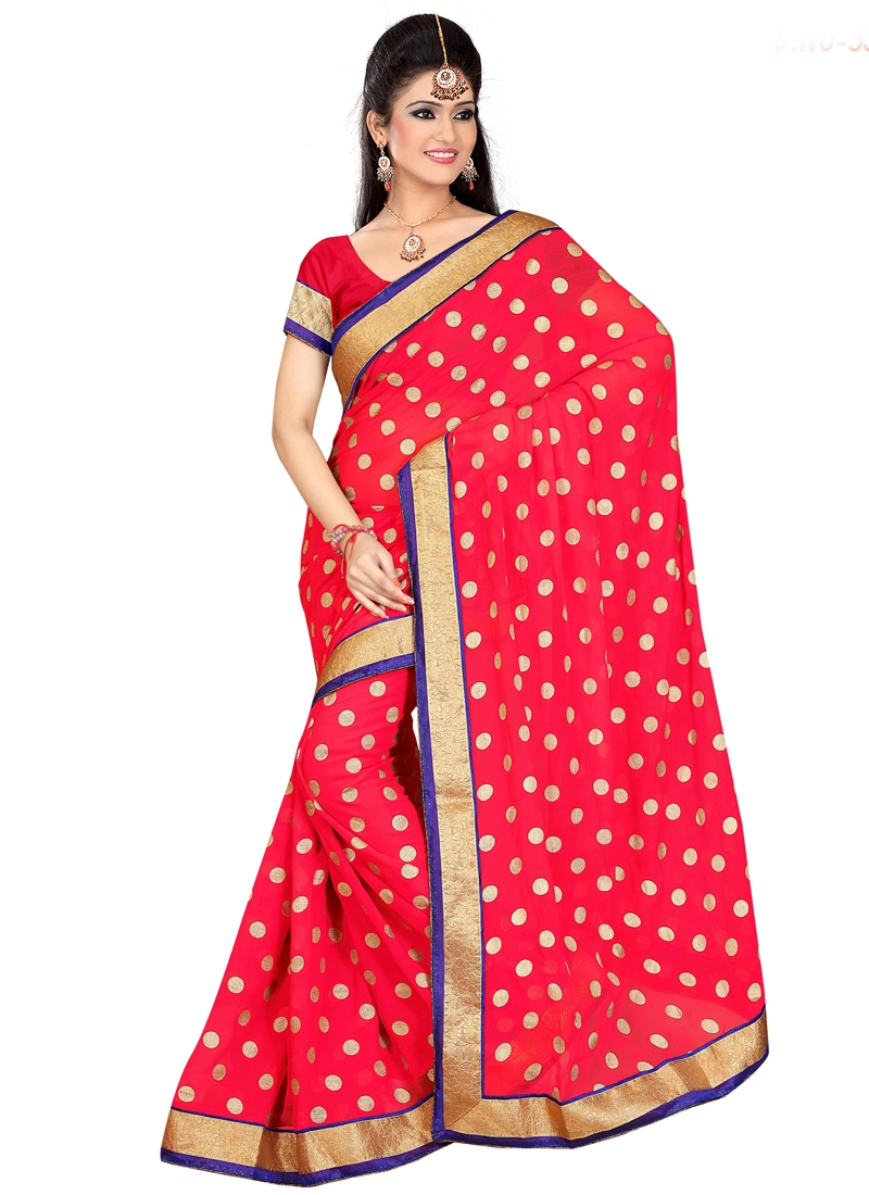 Beauteous Polka Dotted Casual Saree