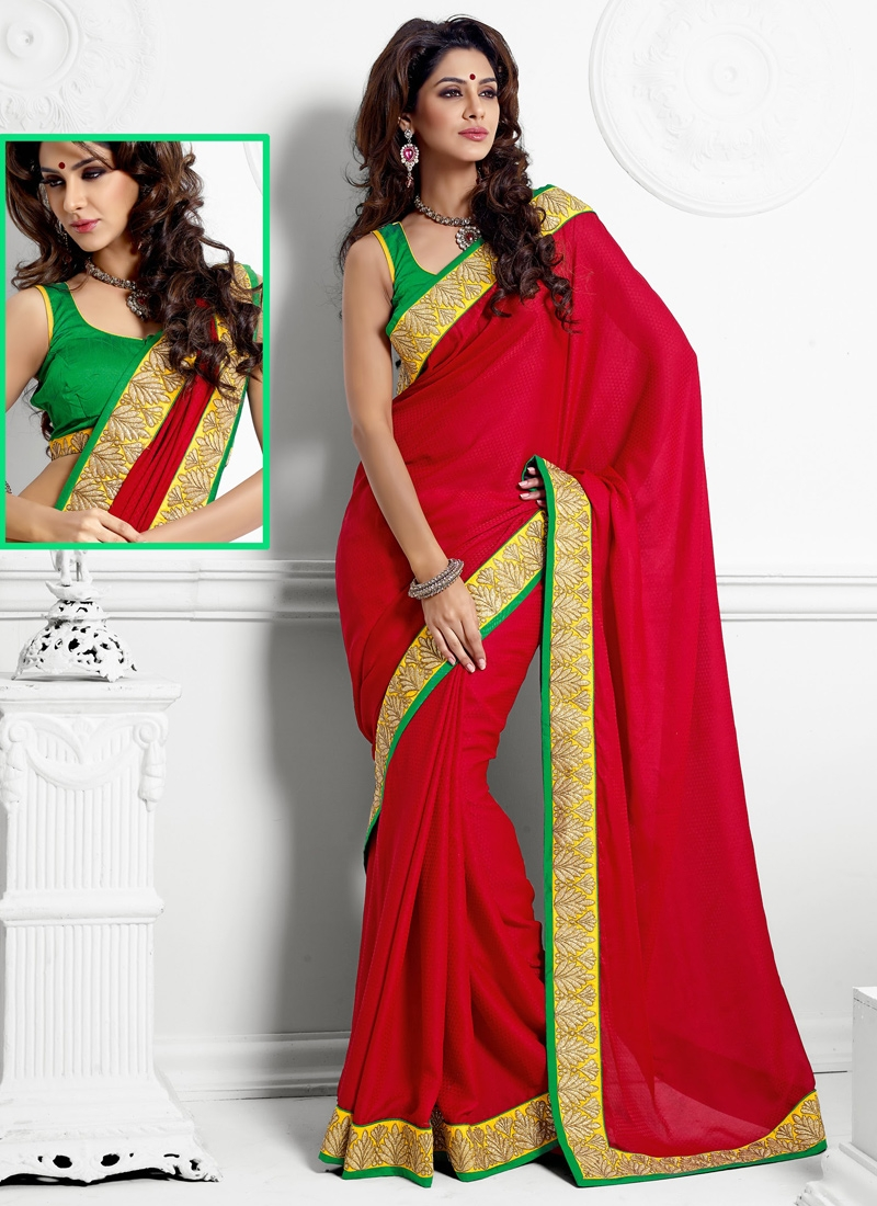 Beauteous Red Jacquard Party Wear Saree
