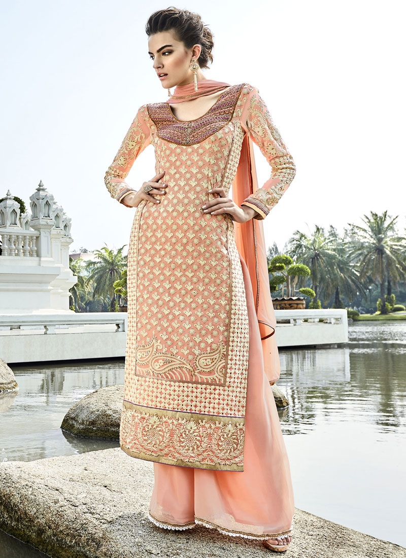 Beauteous Resham Work Palazzo Style Pakistani Suit