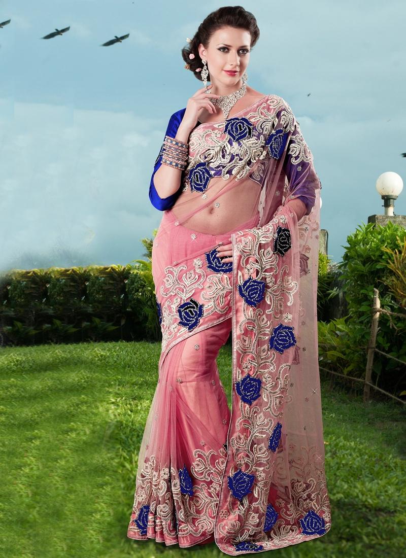 Beauteous Rose Pink Color Net Bridal Saree