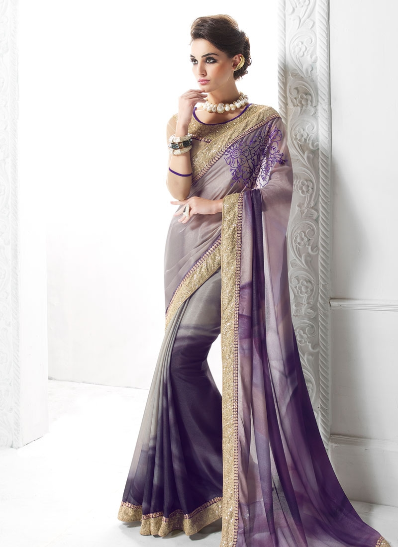 Beauteous Sequins Work Party Wear Saree