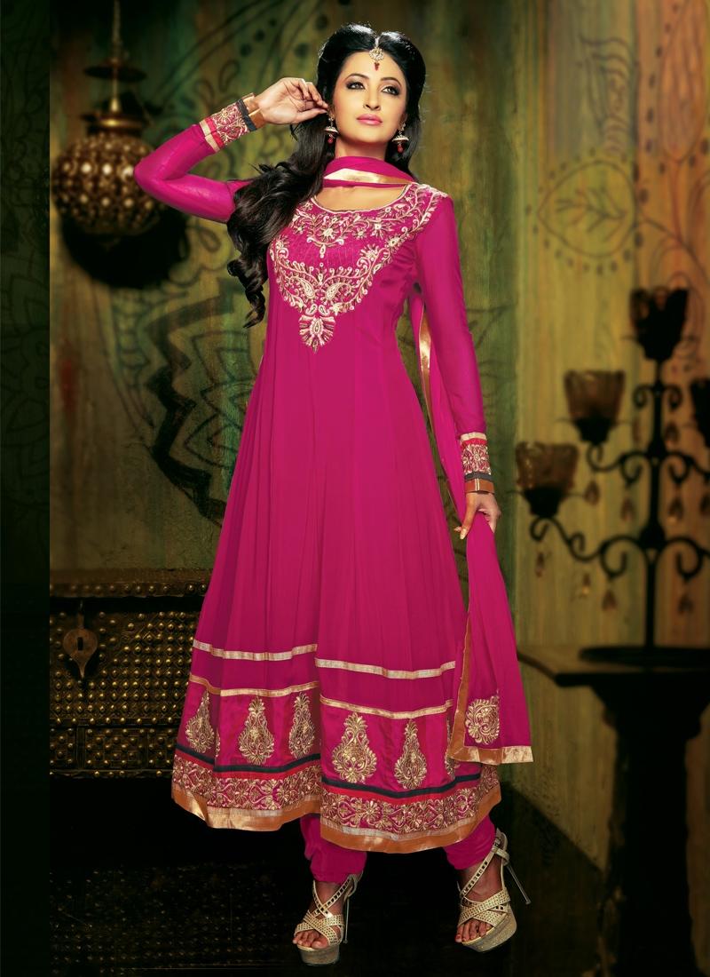 Beautiful Bead Enhanced Anarkali Salwar Suit
