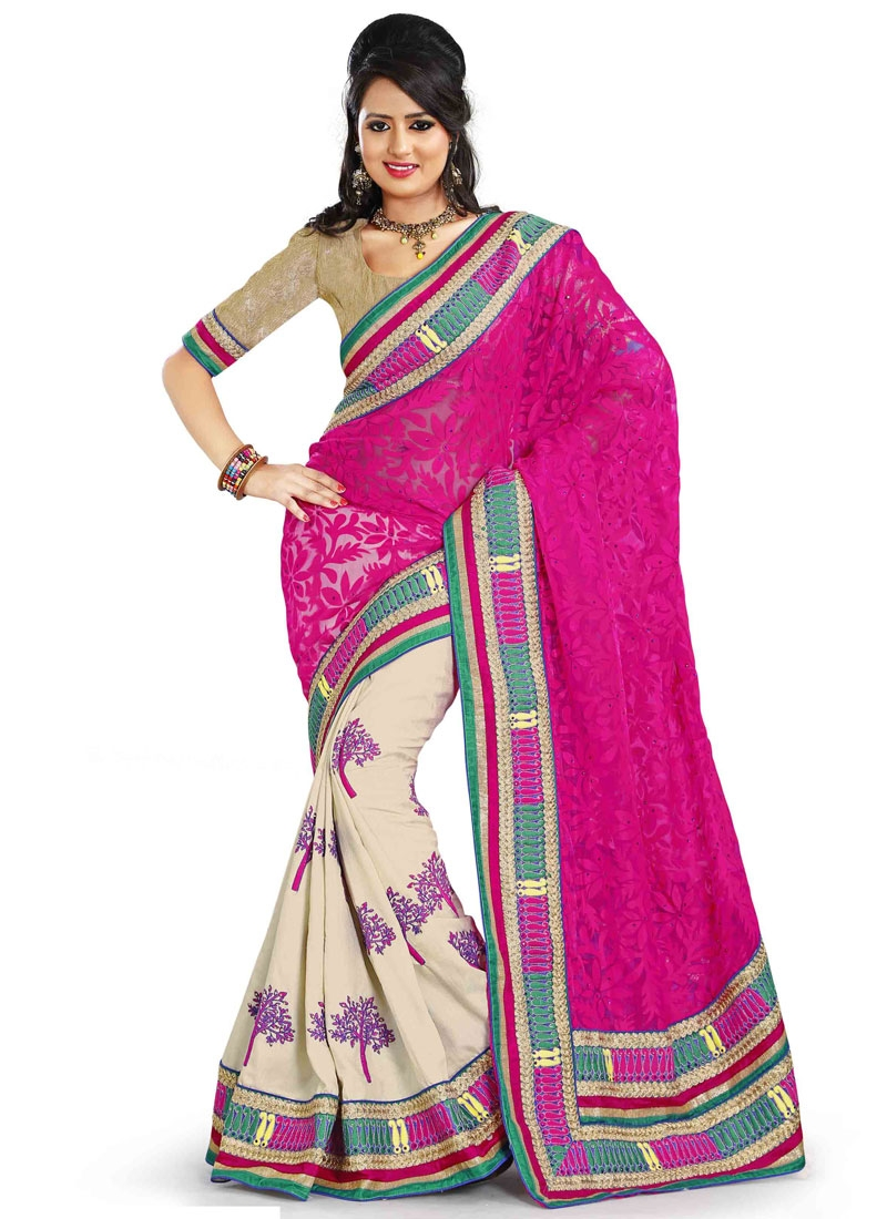 Beautiful Booti And Resham Work Half N Half Designer Saree