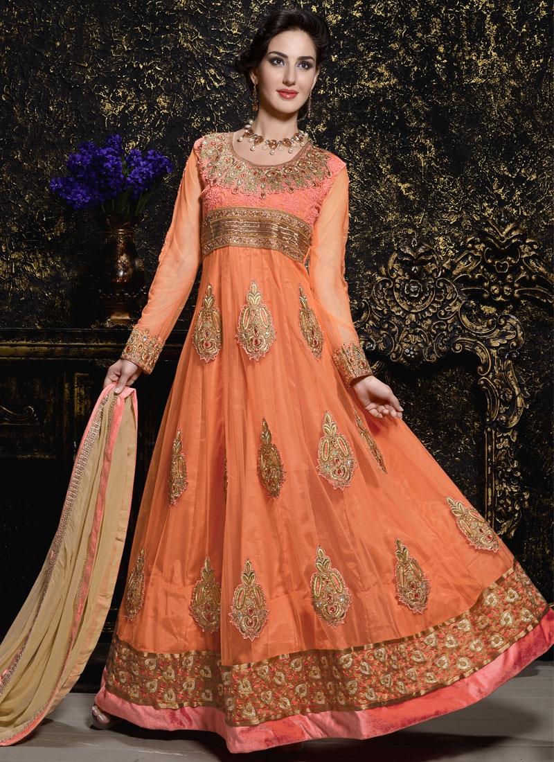 Beautiful Booti Work Long Length Anarkali Suit