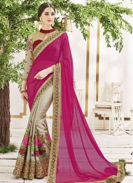 Beautiful Faux Chiffon Beige and Fuchsia Designer Half N Half Saree
