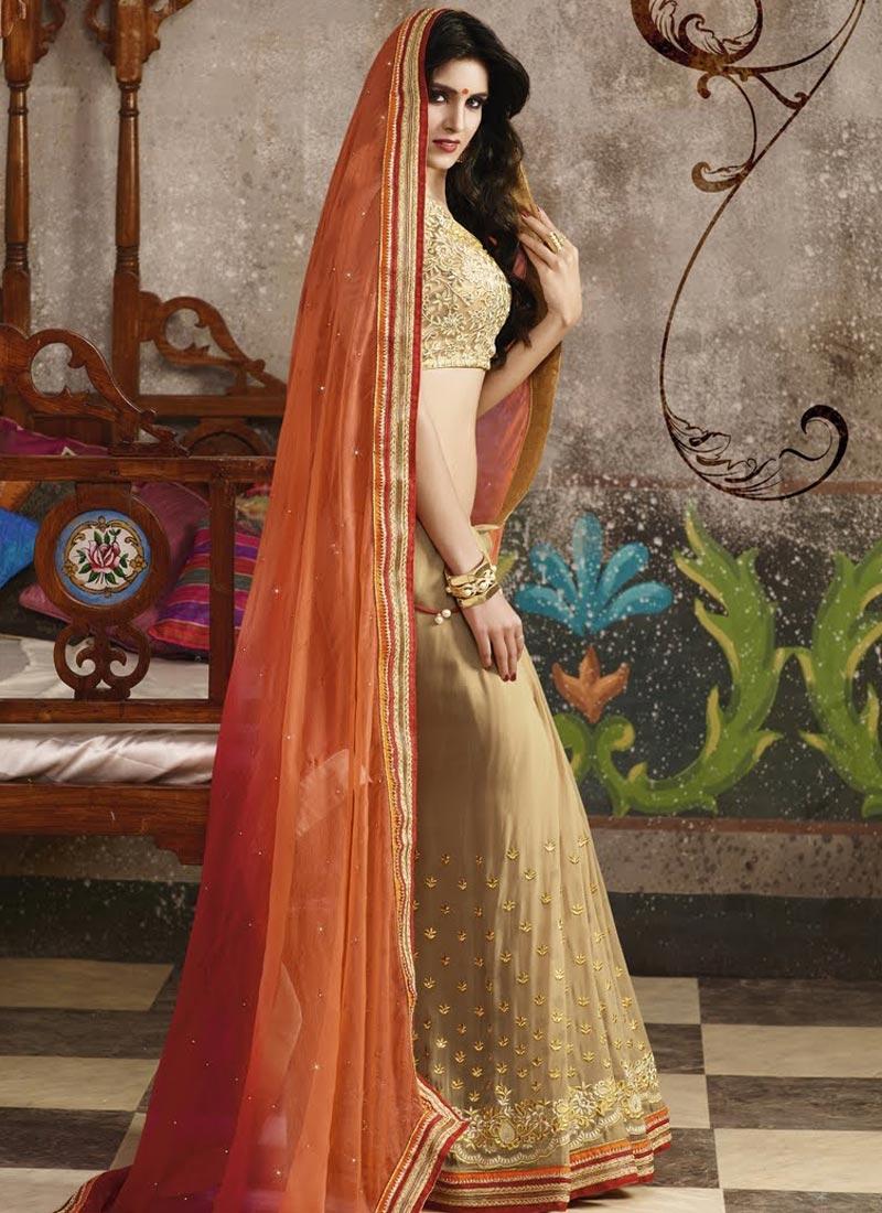 Beautiful Faux Chiffon Stone Work Half N Half Designer Saree