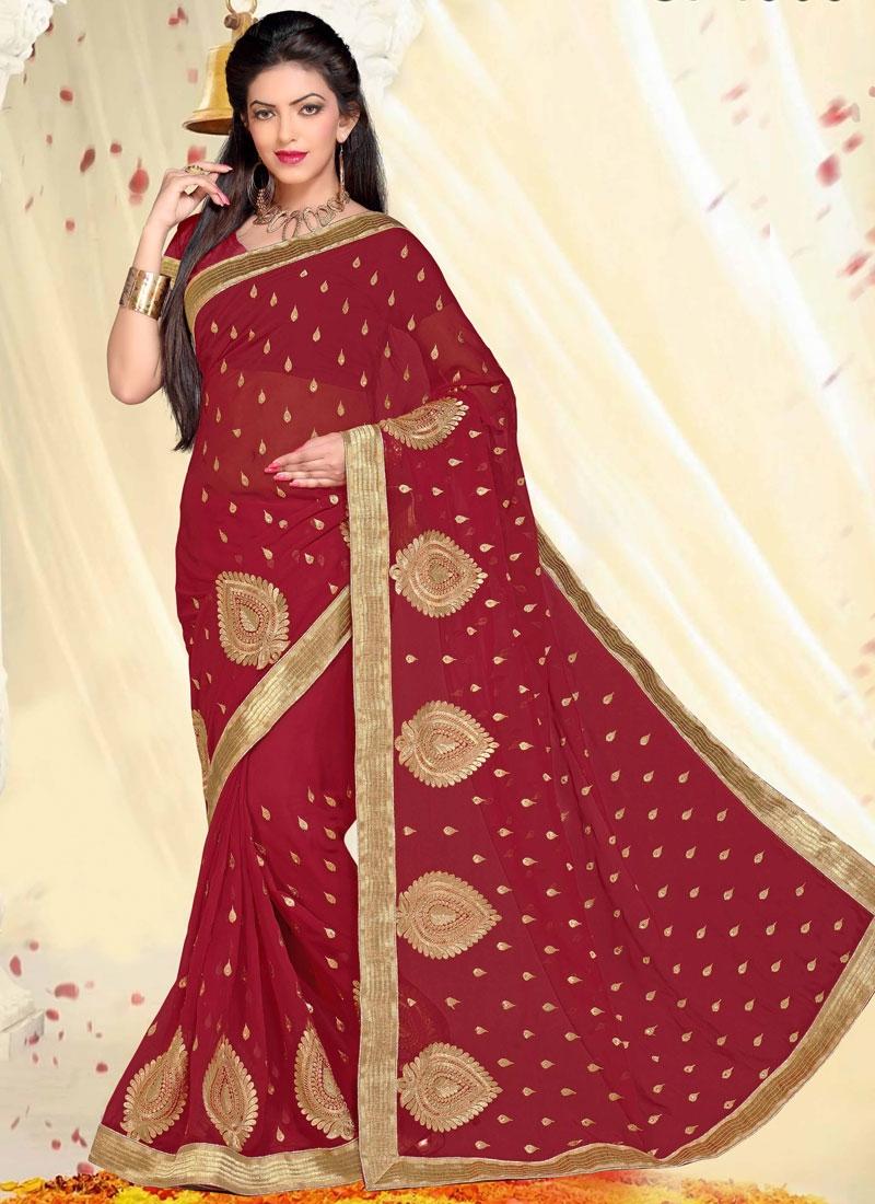 Beautiful Faux Georgette Crimson Color Party Wear Saree