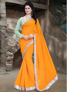 Beautiful Faux Georgette Lace Work Casual Saree