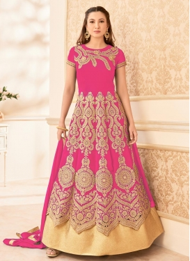 Beautiful Gauhar Khan Faux Georgette Booti Work Long Length Anarkali Suit
