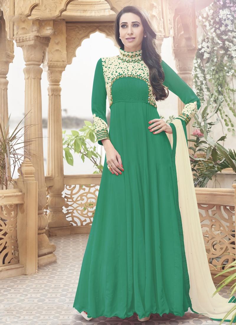 Beautiful Green Color Faux Georgette Karisma Kapoor Party Wear Suit