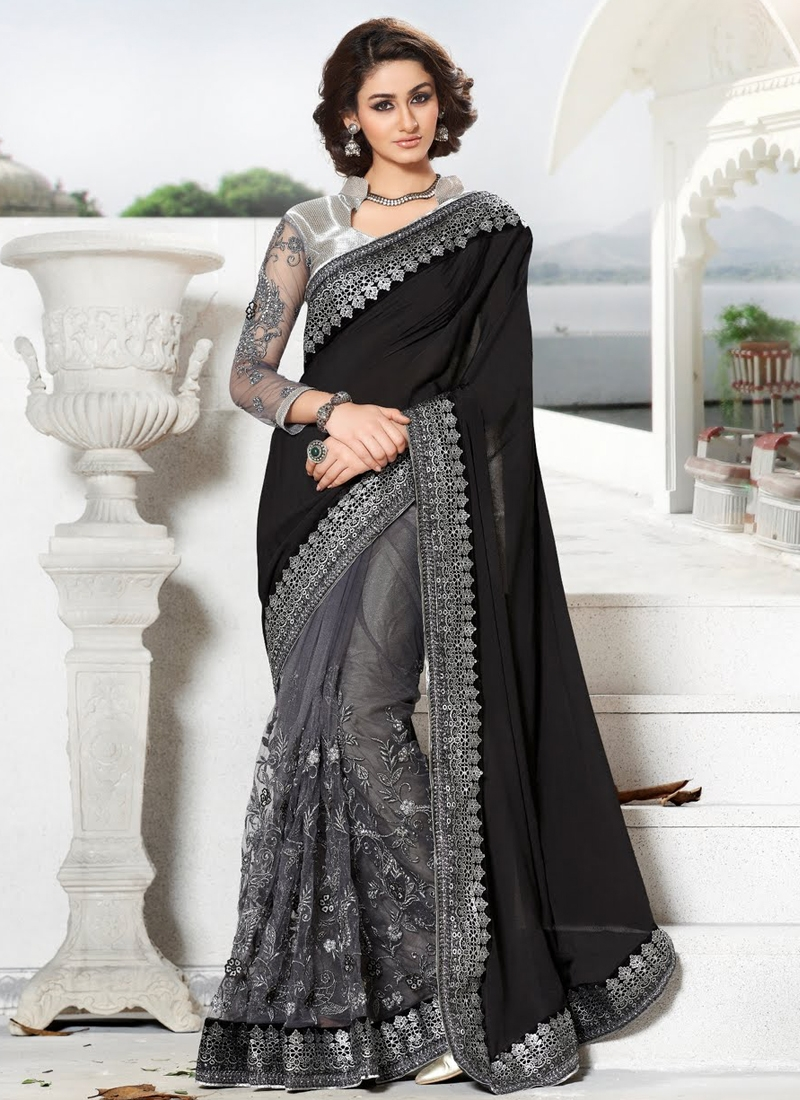 Beautiful Jacquard And Net Half N Half Designer Saree