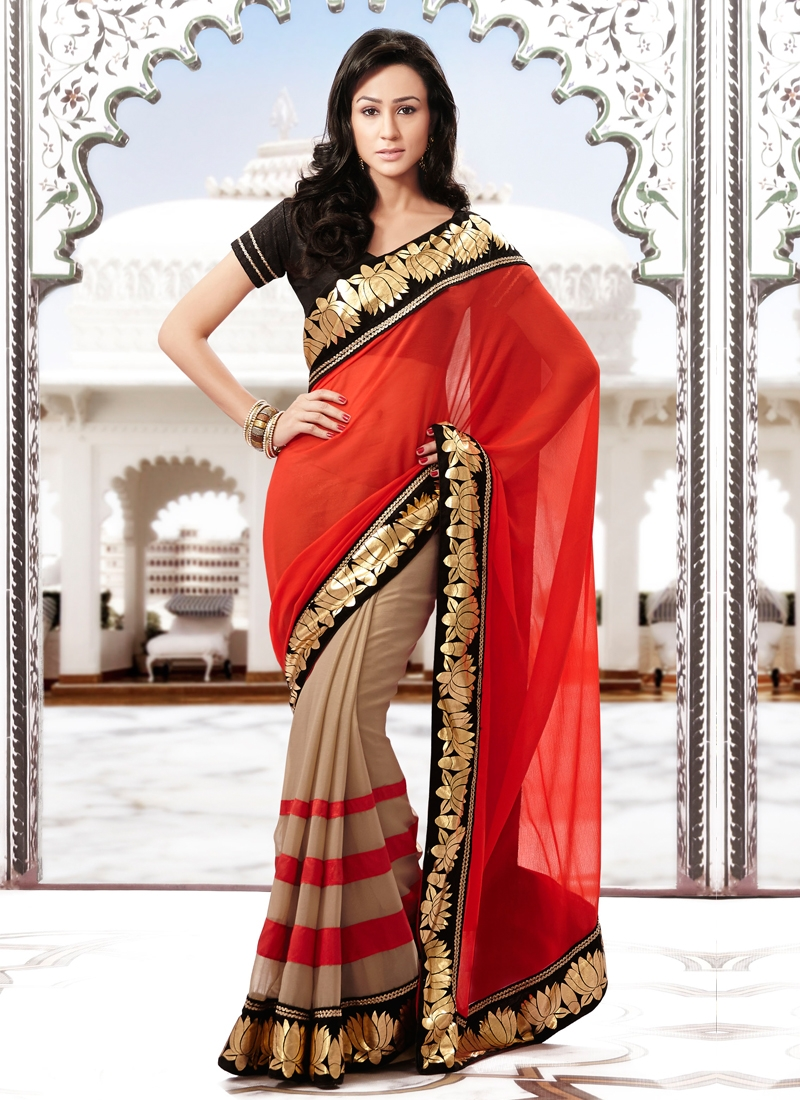 Beautiful Lace And Zari Work Half N Half Saree