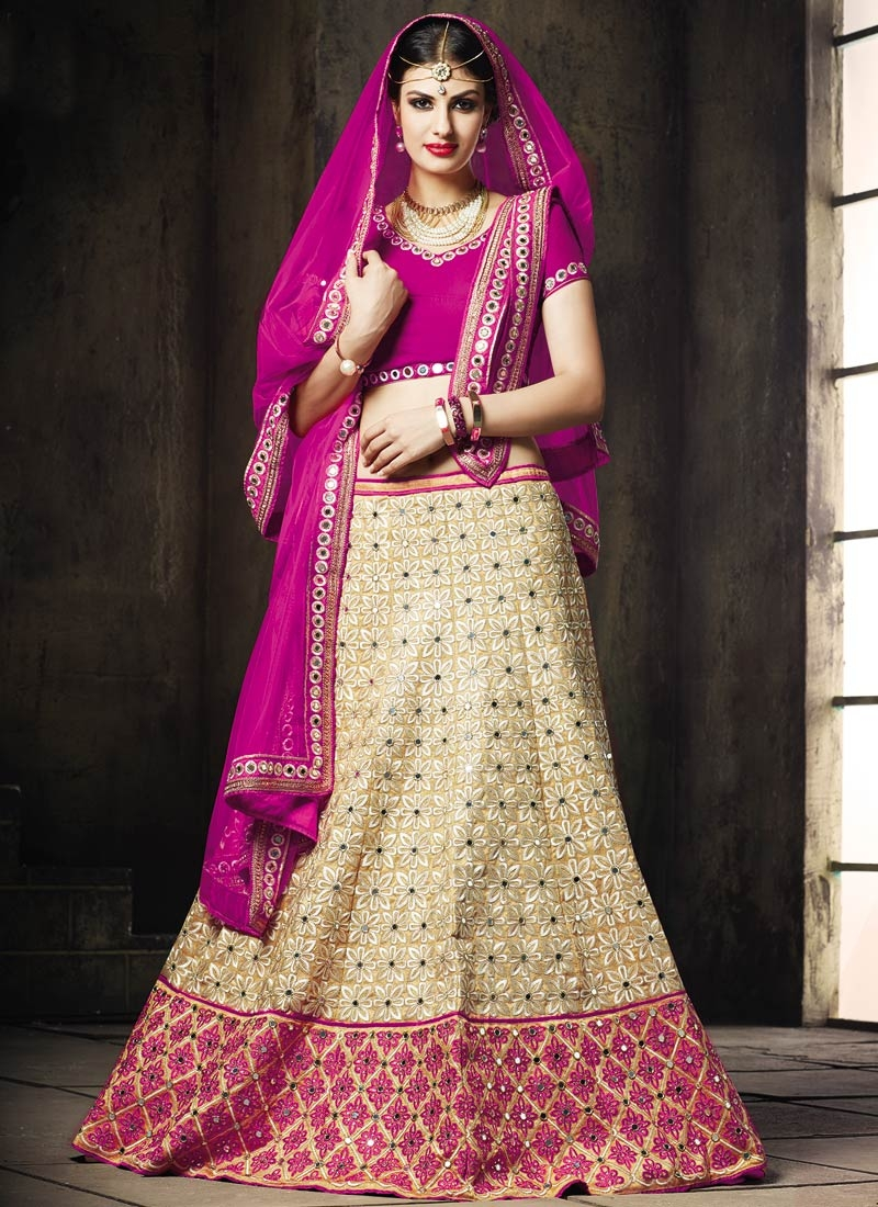Beautiful Mirror Work Beige Color Wedding Lehenga Choli