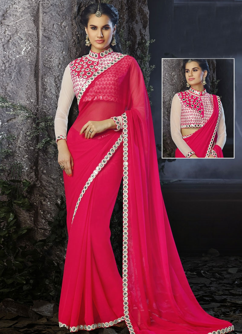 Beautiful Mirror Work Chiffon Party Wear Saree