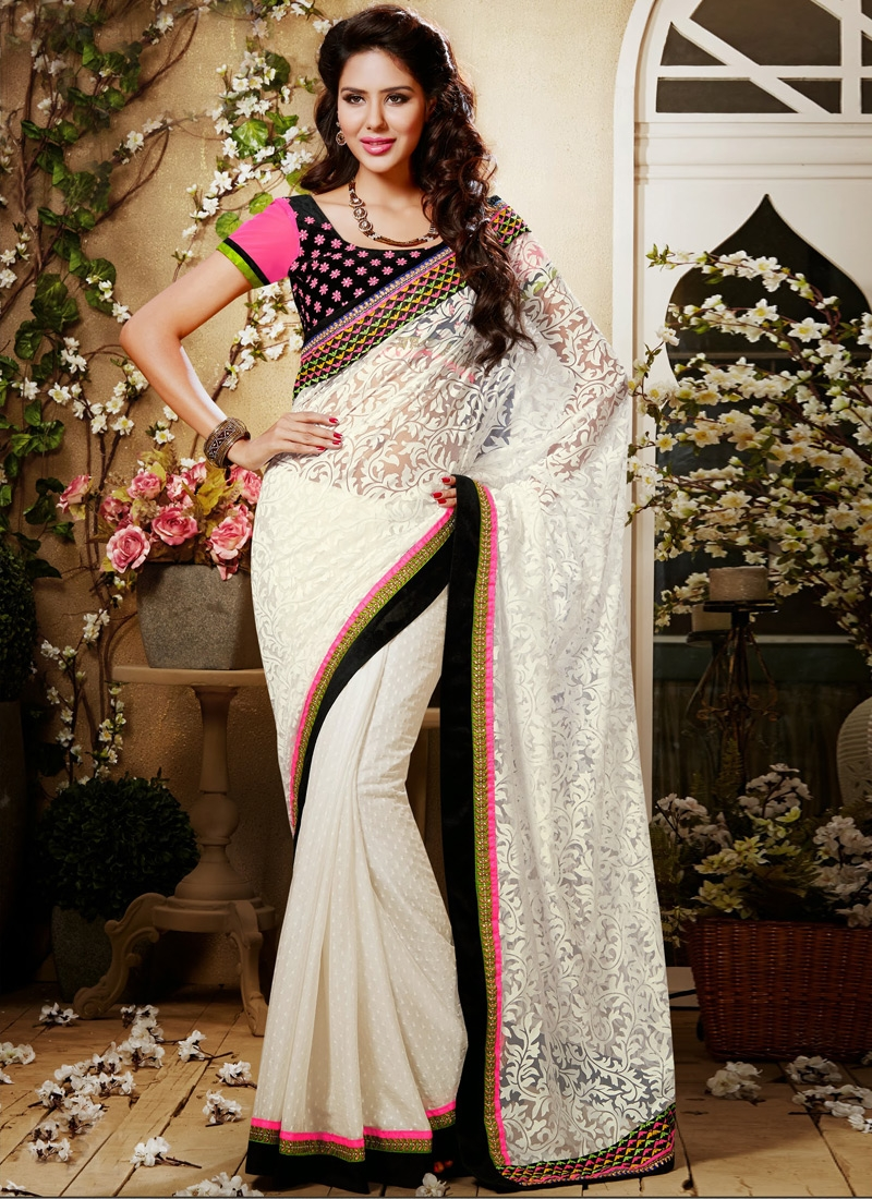 Beautiful Off White Party Wear Saree