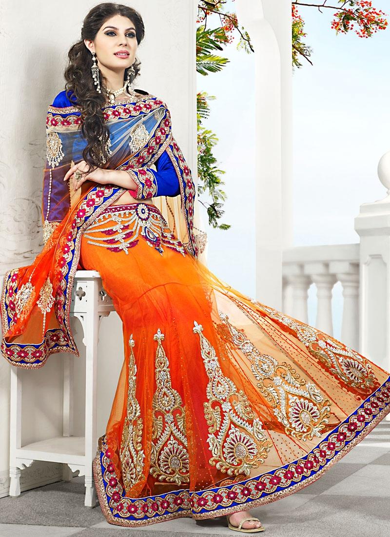 Beautiful Orange And Blue Net Saree